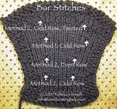 How To Increase Number Of Stitches Knitting : bar increase: k1f&b / p1f&b stitches