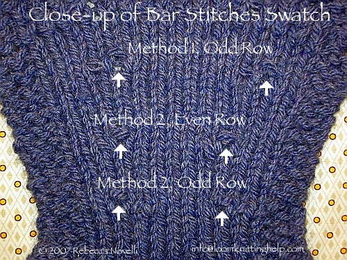 Loom Knitting Increase Stitches : bar increase: k1f&b / p1f&b stitches
